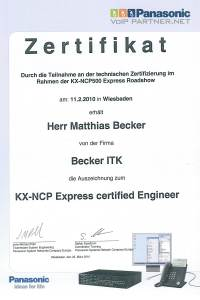 Zertifikat Panasonic NCP Express