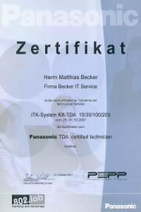 Zertifikat Panasonic TDA Systeme
