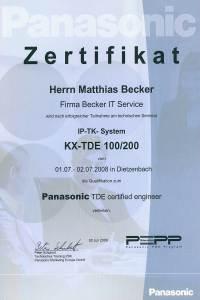 Zertifikat Panasonic TDE Systeme